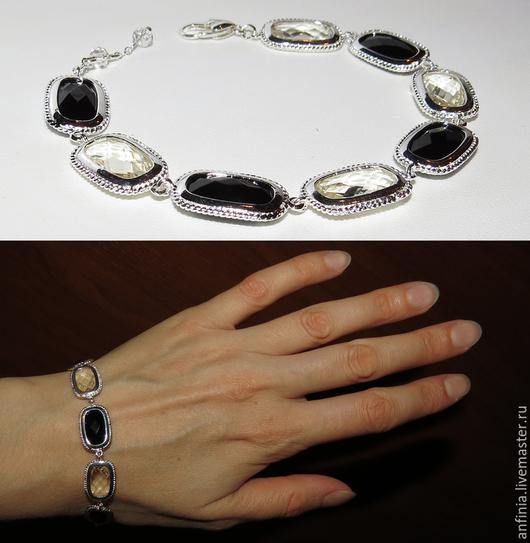 """Браслеты ручной работы. Ярмарка Мастеров - ручная работа. Купить Браслет """"Ирен1""""  элегантный черно-белый браслет.. Handmade."""