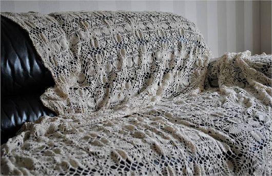 """Текстиль, ковры ручной работы. Ярмарка Мастеров - ручная работа. Купить Покрывало """"Крем"""". Handmade. Бежевый, плед вязаный"""