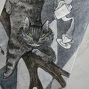 Аксессуары ручной работы. Ярмарка Мастеров - ручная работа Серый шелковый галстук с ручной росписью - Чеширский кот. Handmade.