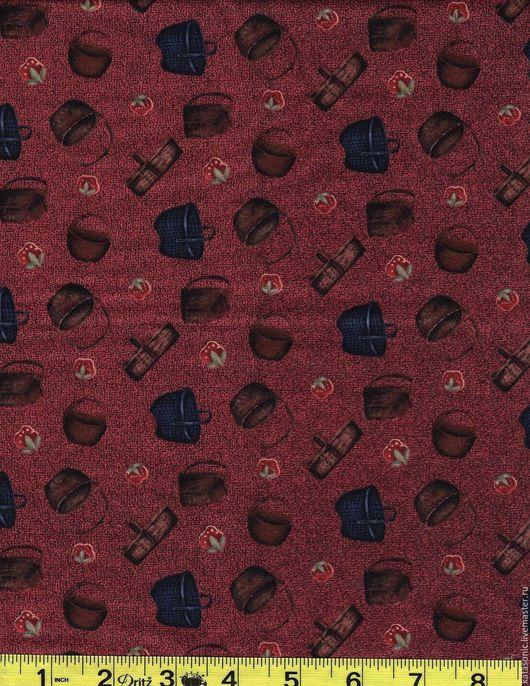 Шитье ручной работы. Ярмарка Мастеров - ручная работа. Купить 1253 Американская ткань. Handmade. Бордовый, ткань с рисунком, ткань