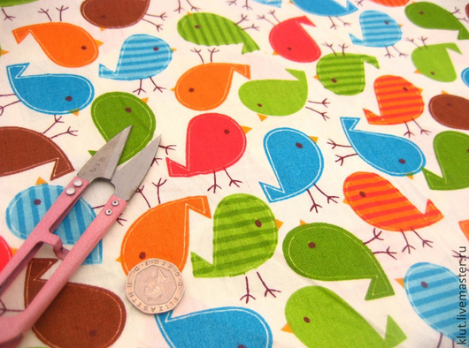Шитье ручной работы. Ярмарка Мастеров - ручная работа. Купить Ткань птички. Handmade. Птицы, ткань для творчества, ткань для шитья