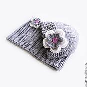 Аксессуары handmade. Livemaster - original item Hat and Snood for girls knitted set for children, gray. Handmade.