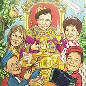 Картины и панно ручной работы. Ярмарка Мастеров - ручная работа Семейный шарж. Бумага, акварель. Handmade.