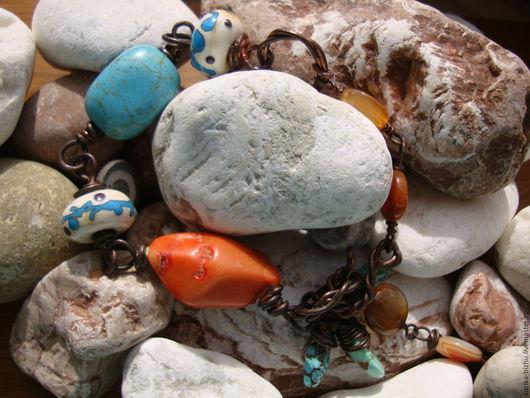 """Браслеты ручной работы. Ярмарка Мастеров - ручная работа. Купить Браслет """"Мальдивы"""".. Handmade. Медный браслет, браслет с бирюзой"""