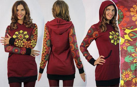 Платье / топ с капюшоном с яркими рукавами | LiluGirl точка РУ