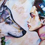 Картины и панно handmade. Livemaster - original item Oil painting with girl and wolf Look. Handmade.