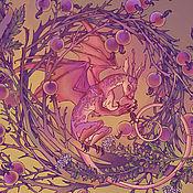 """Аксессуары ручной работы. Ярмарка Мастеров - ручная работа Шелковый платок """"Дети травы"""" авторский принт на шелке. Handmade."""