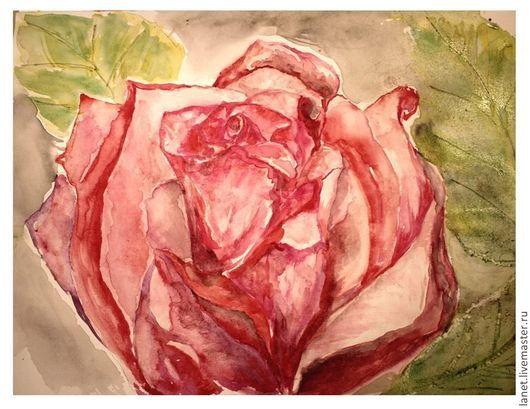 """Картины цветов ручной работы. Ярмарка Мастеров - ручная работа. Купить Акварельный рисунок """"Розовый кочанчик"""". Handmade. Фуксия, красный"""