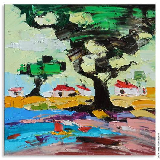 """Пейзаж ручной работы. Ярмарка Мастеров - ручная работа. Купить """" Старый дуб"""" 40х40см картина мастихином пейзаж деревенский. Handmade."""