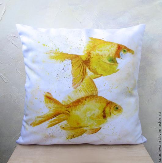 """Текстиль, ковры ручной работы. Ярмарка Мастеров - ручная работа. Купить Подушка - Наволочка """"Золотые рыбки"""" на диванную подушку. Handmade."""