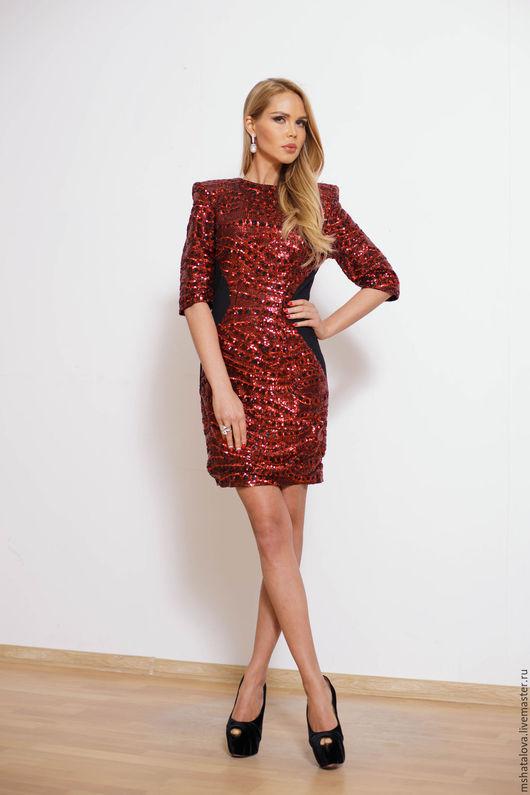 Платья ручной работы. Ярмарка Мастеров - ручная работа. Купить Платье с пайетками красное. Handmade. Красный, платье с пайетками, пайетки