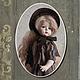 Коллекционные куклы ручной работы. Ярмарка Мастеров - ручная работа. Купить Кабинетная кукла в духе Прекрасной эпохи. Handmade. Коричневый