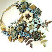 handmade. Livemaster - original item Waltz Blue Valley. Necklace made of genuine leather. Handmade.
