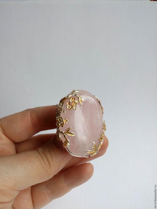 Кольца ручной работы. Ярмарка Мастеров - ручная работа. Купить Кольцо розовый кварц САКУРА. Handmade. Бледно-розовый, кольцо