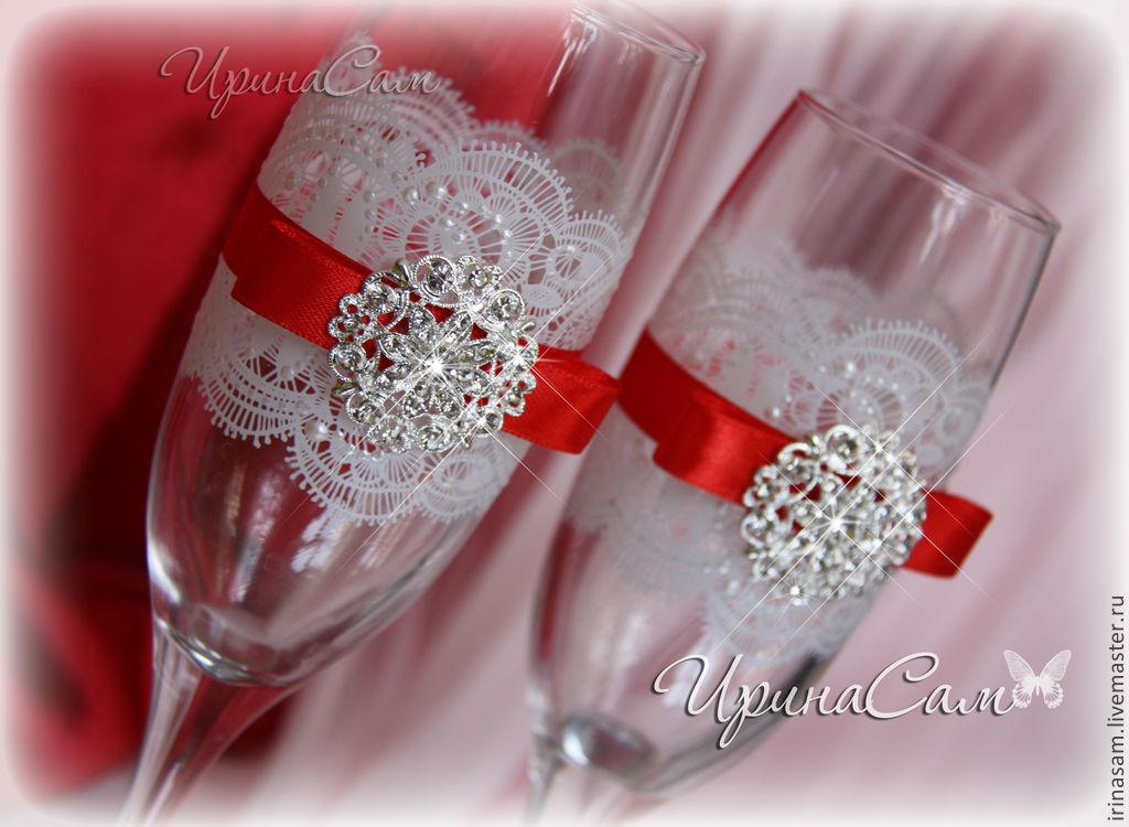 Бокалы на свадьбу из кружева