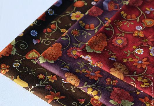 """Шитье ручной работы. Ярмарка Мастеров - ручная работа. Купить Ткань для пэчворка """"Собачки"""". Handmade. Коричневый, детское, цветочный, ткань"""
