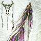 Фиолетовые серьги с перьями