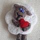"""Броши ручной работы. Ярмарка Мастеров - ручная работа. Купить """"Овечка с сердечком"""". Handmade. Белый, валентинов день, овечка"""
