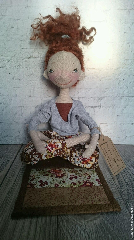 Интерьерная текстильная кукла любительница йоги, Мягкие игрушки, Москва,  Фото №1