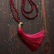 Украшения ручной работы. Ярмарка Мастеров - ручная работа Бордовый сотуар из агата с шелковой кистью. Handmade.