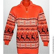 Одежда handmade. Livemaster - original item A sweater with a reindeer (orange) zip. Handmade.