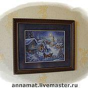 Картины и панно ручной работы. Ярмарка Мастеров - ручная работа Вышивка крестом картина Санная прогулка (Sleigh Ride). Handmade.