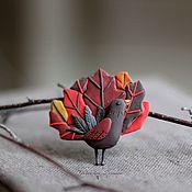 Украшения ручной работы. Ярмарка Мастеров - ручная работа Птица осень. Брошь. Handmade.
