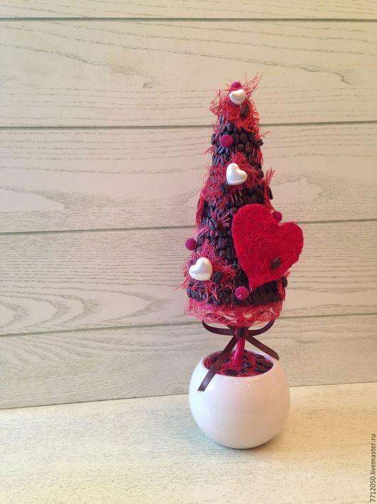 подарок ко дню святого Валентина день всех влюбленных кофейное дерево с сердцами необычный подарок красное сердце для любимой