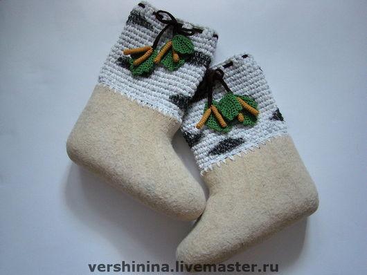 """Обувь ручной работы. Ярмарка Мастеров - ручная работа. Купить Валенки """"Березка"""". Handmade. Валенки, береза, авторская работа, шерсть"""