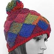 Аксессуары handmade. Livemaster - original item Knitted women`s cap squares with pompom. Handmade.