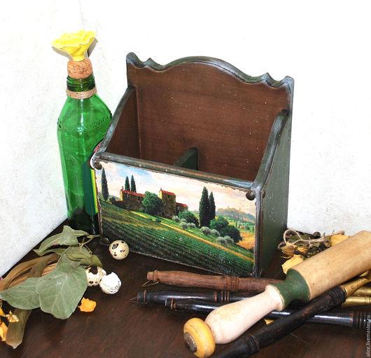 Кухня ручной работы. Ярмарка Мастеров - ручная работа. Купить ТОСКАНА подставка для столовых приборов. Handmade. Тёмно-зелёный, краски