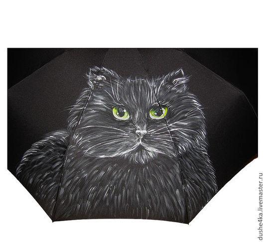 """Зонты ручной работы. Ярмарка Мастеров - ручная работа. Купить Зонт с росписью """"А ты меня покорми!"""" (Черный кот). Handmade."""