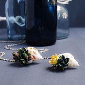 Украшения handmade. Livemaster - original item The pendant is natural shell with succulents, 3.5h2.5 cm. Handmade.