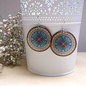 Украшения handmade. Livemaster - original item Transparent Earrings Mandala Geometry Pattern Ethno Stained Glass Boho Meditation. Handmade.