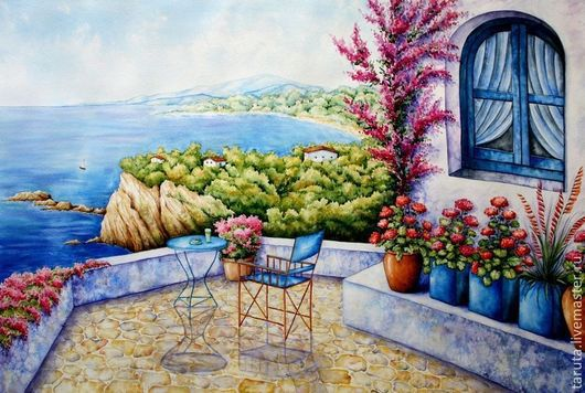 """Пейзаж ручной работы. Ярмарка Мастеров - ручная работа. Купить Картина """"Средиземноморская терраса"""". Handmade. Средиземное море, цветы"""