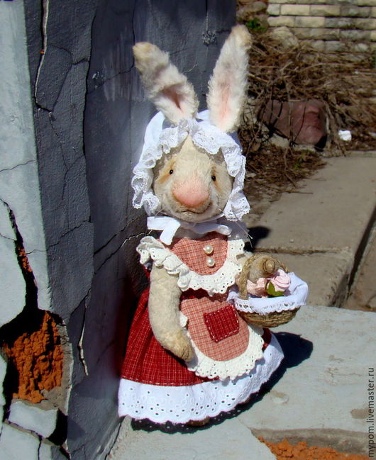 Мишки Тедди ручной работы. Ярмарка Мастеров - ручная работа. Купить Пасхальный Кролик-тедди Polly..... Handmade. Серый