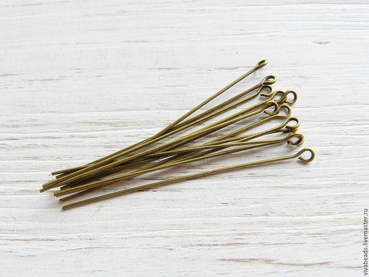 Пины с колечком, цвет - бронза, материал - латунь, размер 50 мм, толщина 0,7 мм (арт. 2215)