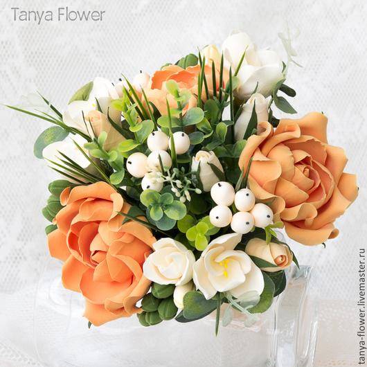 Свадебные цветы ручной работы. Ярмарка Мастеров - ручная работа. Купить Свадебный букет невесты с розами и фрезиями. Handmade. Букет