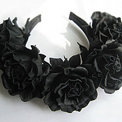 Украшения handmade. Livemaster - original item Leather flowers. Decoration in her hair a headband .BLACK ROSES. Handmade.