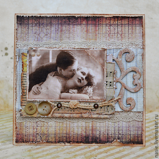 """Открытки на все случаи жизни ручной работы. Ярмарка Мастеров - ручная работа. Купить Открытка """"Нежный поцелуй"""". Handmade. Бежевый, бумага"""