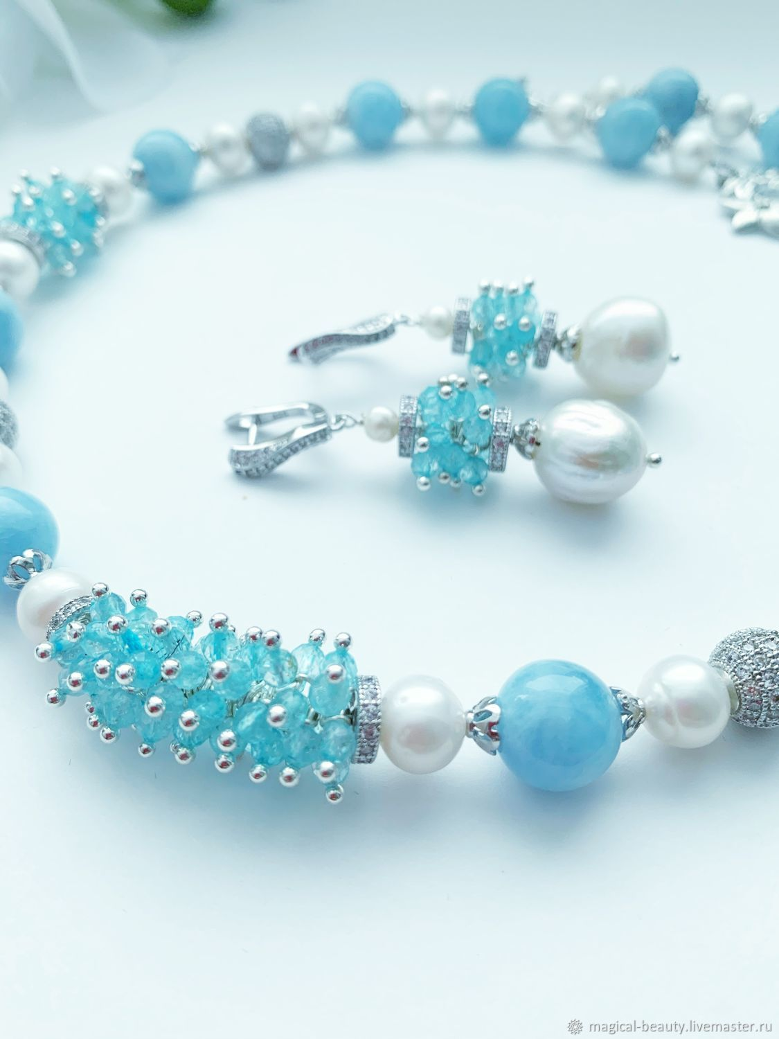 Necklace with aquamarine and pearls ' Melody of the wind', Necklace, Moscow,  Фото №1