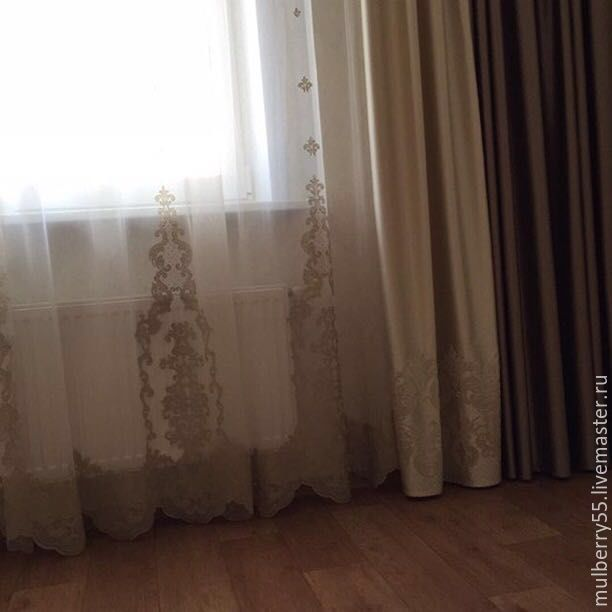 Текстиль, ковры ручной работы. Ярмарка Мастеров - ручная работа. Купить Комплект штор (Италия). Handmade. Бежевый, шторы для кухни
