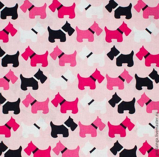 """Шитье ручной работы. Ярмарка Мастеров - ручная работа. Купить № 396 американский хлопок """"Собака"""" розовые. Handmade."""