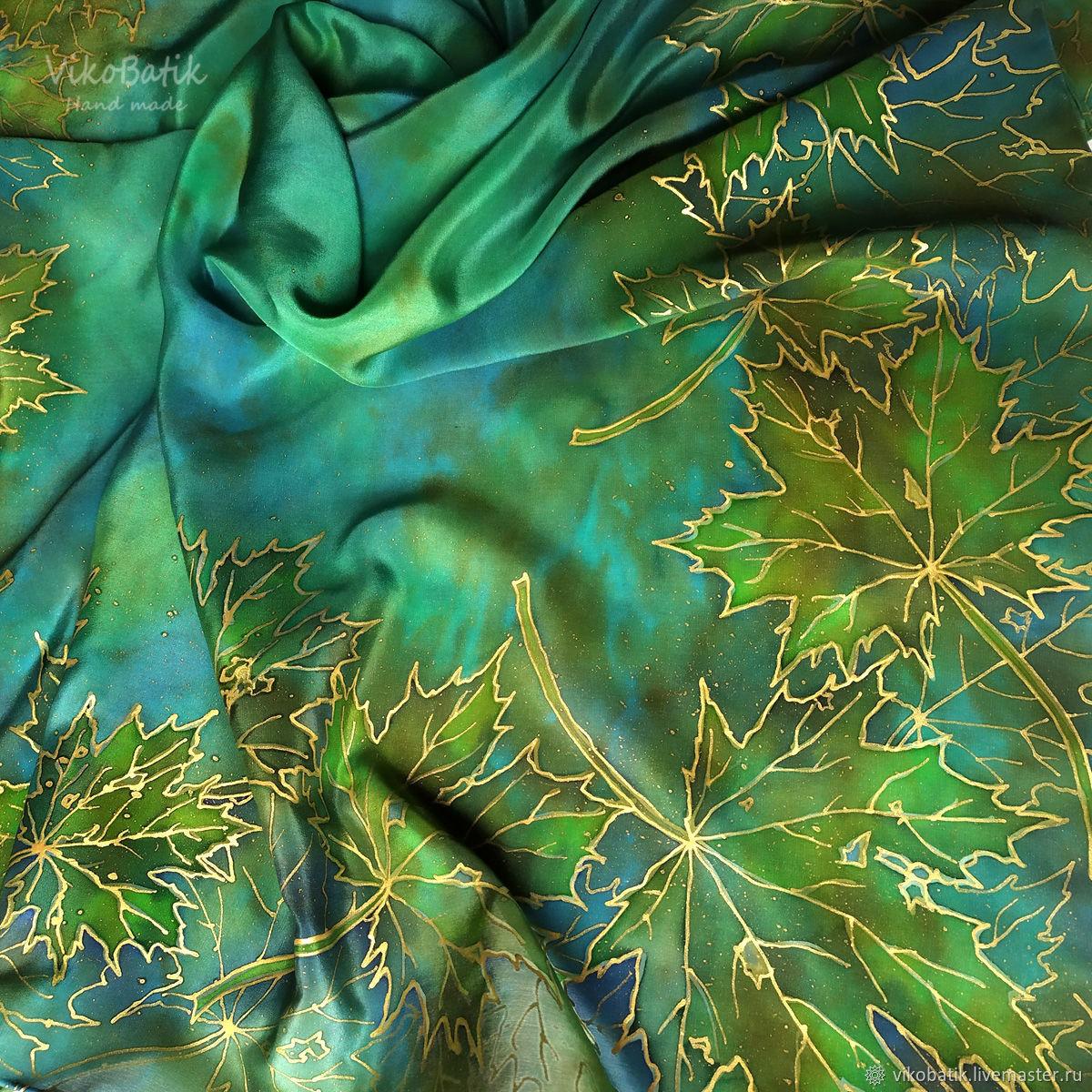 Shawls: Batik scarf 'Maple leaf'. green. 100% silk, Shawls1, Kislovodsk,  Фото №1