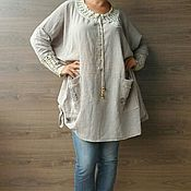 Одежда handmade. Livemaster - original item Designer tunic. Blouse, washed cotton large size.. Handmade.
