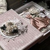 Открытки ручной работы. Ярмарка Мастеров - ручная работа Открытка С новым годом в коробке бежевый белый подарок новый год. Handmade.
