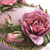 handmade. Livemaster - original item Needlework Box PINK ROSES lilac Jewelry Box box. Handmade.