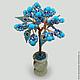 Дерево из бирюзы `Рикмира` в вазочке из оникса