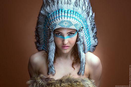 Этническая одежда ручной работы. Ярмарка Мастеров - ручная работа. Купить Индейский головной убор - Хрустальный Водопад. Handmade. Бирюзовый