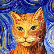 Картины и панно ручной работы. Ярмарка Мастеров - ручная работа Звездный кот. Handmade.